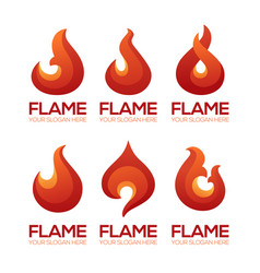 stylized fire flame emblems for your logo design vector image