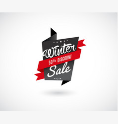 winter sale label with red ribbon vector image