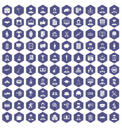 100 career icons hexagon purple vector