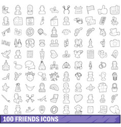 100 friends icons set outline style vector
