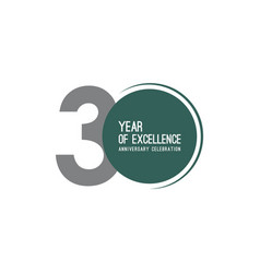 30 year excellence anniversary celebration vector