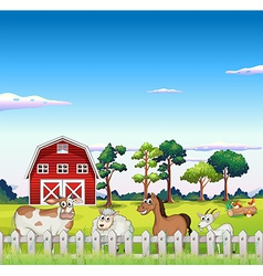 Animals inside the fence with a barnhouse vector
