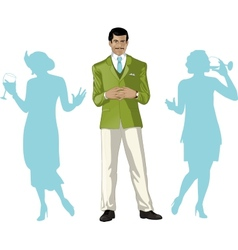 Asian male party host with female guests vector