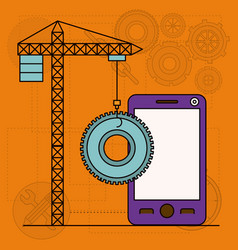 Background with crane tower and pinion and vector