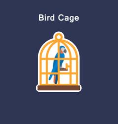 Bird cage flat icon sticker vector