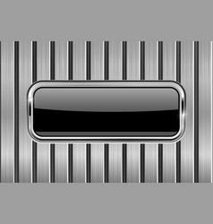 Black rectangle button on metal background vector
