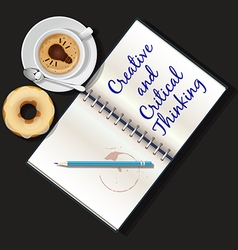 booklet mug of cappuccino and doughnut vector image