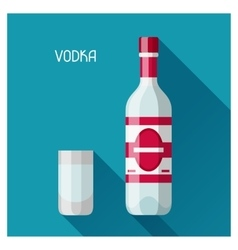Bottle and glass of vodka in flat design style vector image