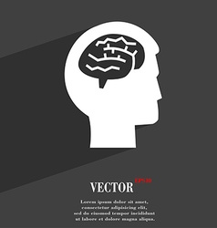 Brain symbol Flat modern web design with long vector image