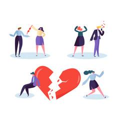 Broken heart people love relation concept unhappy vector
