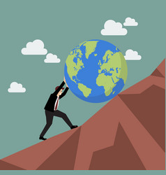 Businessman pushing the world uphill vector