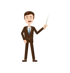 Businessman with pointer icon cartoon style vector image