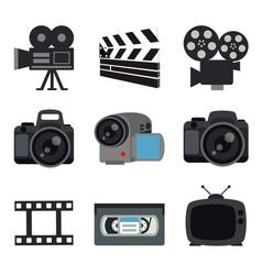 Camera lenses photo video digital media vector