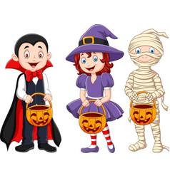 Cartoon kids with halloween costume holding vector