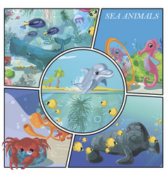 cartoon sea animals colorful composition vector image