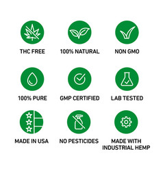 cbd oil icons set including thc free 100 natural vector image