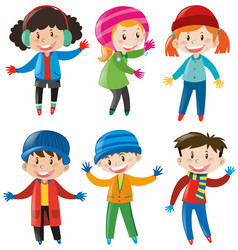 Children in winter clothes vector