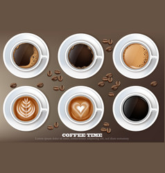 coffee cup set collection realistic vector image