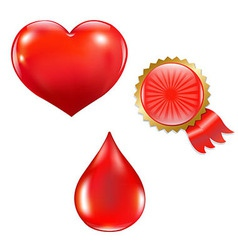 Collection With Blood Drop And Heart vector