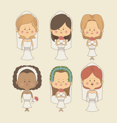 color background of set bride woman in wedding vector image