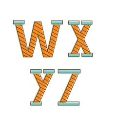 Colorful alphabet letters wxyz vector