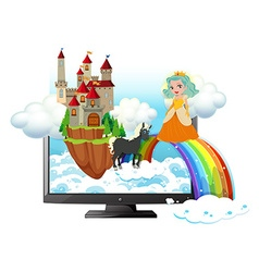 Computer screen with princess and castle vector image vector image
