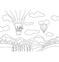 couple on hot air balloon above mountains vector image