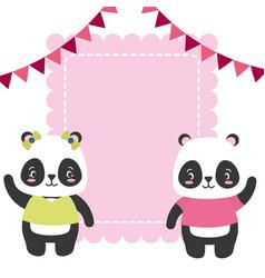cute couple panda animals greeting card vector image