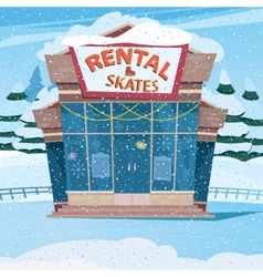 Cute little house with a sign rental skates vector