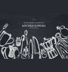 design with chalk chef s knifes teaspoon spoon vector image