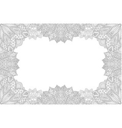 Detailed monochrome frame for coloring book page vector