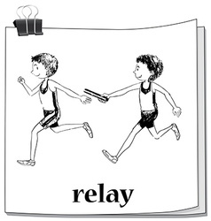 Doodle athletes running relay vector image