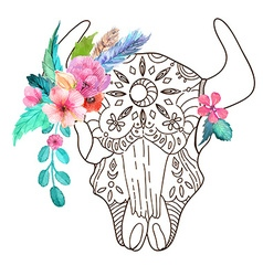 Doodle bull skull with watercolor flowers and vector