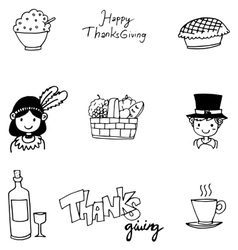 Doodle of Thanksgiving flat hand draw vector