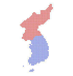 Dotted pixel north and south korea map vector