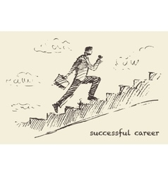 Drawn man climbing stair sky Successful vector image