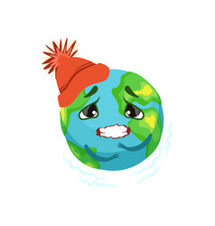 earth planet character in red hat trembling cute vector image