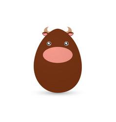 Easter bull egg vector