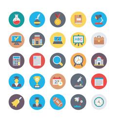 Education flat circular icons 2 vector
