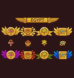 Egyptian awards with scarab eye flower vector