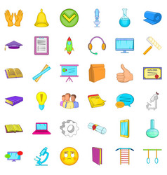 elearning icons set cartoon style vector image
