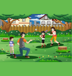 Family playing baseball outdoor vector