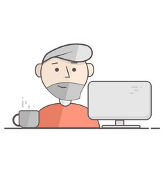 Flat of happy man working on vector