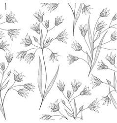 Floral seamless pattern flower branch engraved vector