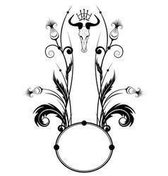 frame with thistle and skull vector image