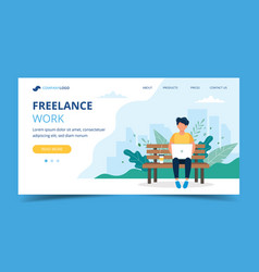 freelance work page template man working with vector image