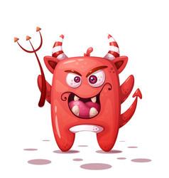 Funny cute crazy devil character halloween vector