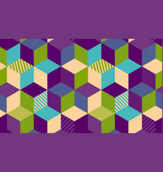 Geometry cube hexagon color seamless pattern vector