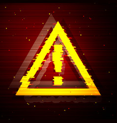 Glitched triangle attention symbol design vector