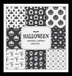Halloween Seamless Pattern Backgrounds Set vector image